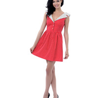 Red, White, & Black Polka Dot Collar Fit N Flare Dress - Unique Vintage - Prom dresses, retro dresses, retro swimsuits.