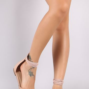 Liliana Pointy Toe Strappy Ankle Cuff Flat
