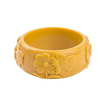GuanLong 2017 New Carved Flower Resin Bangle Bracelet European American Fashion Female Bangles Pulseiras Jewellery