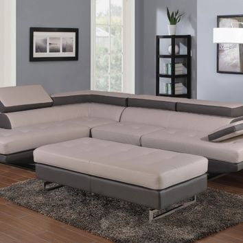 Global United 8136GR-2PC-A 2 pc Nova II white and gray leather gel upholstered sectional sofa with adjustable headrests and arm with chrome legs