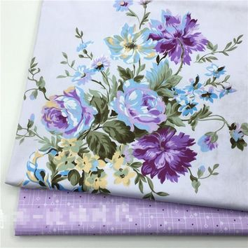 50x160cm Cotton Twill Fabric DIY Craft Material Quilt Bedding Articles Purple Flower TB10