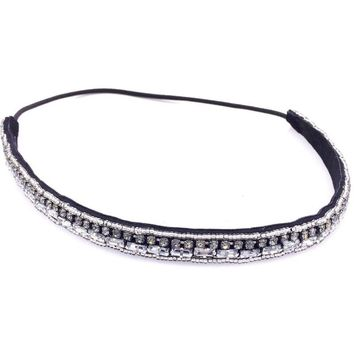 Vintage Bohemian Ethnic Tribal Crystal Stone Seed Beads Handmade Elastic Headband Hair Band Design Hair Accessories