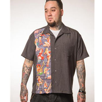 Pin Up Print Panel Shirt Charcoal