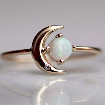 14K Opal Star And Moon Ring, Diamond, Night Sky, Astrology Jewelry, Opal Ring, October Birthstone, Moon Ring, Crescent Moon