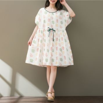 ROUND NECKLACE WITH BUBBLE SLEEVES COTTON DRESS