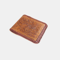 Hand Tooled Leather Wallet, Brown Floral / Vintage