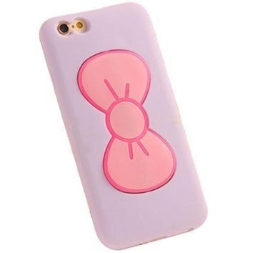 PEAPHY3 iPhone 6 6S Cute Bow Phone Case (Purple).