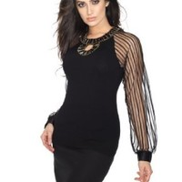 Belldini Jersey pullover with beaded keyhole and mesh sleeves