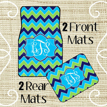Custom Personalized Set of Car Floor Mats - Front and or Rear Back, Monogrammed Car Mats, Chevron Navy Turquoise Green