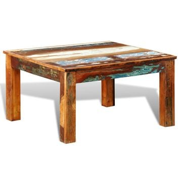 Reclaimed Wood Coffee Table Square Antique-style
