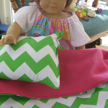 American Girl Doll Bedding, pink and green chevron blanket and pillow for 18 inch doll