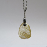 Golden Rutilated Quartz Necklace, Oxidized Sterling Silver, Rutilated Golden Quartz Pendant, Natural Stone Jewelry