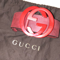 Gucci Red Suede G Buckle Belt