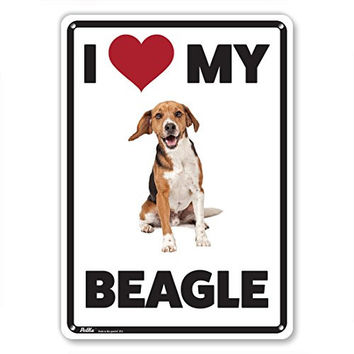 "PetKa Signs and Graphics PKDO-0040-NA_10x14 ""I Love My Beagle"" Aluminum Sign, 10"" x 14"", Red/Black/White with Dog Photo"