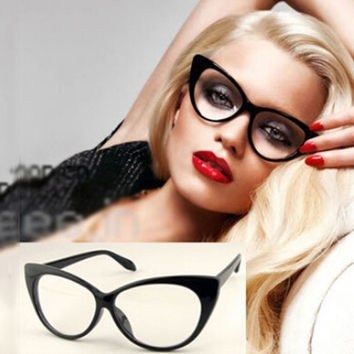 Sexy Vintage Fashion Cat-Eye Shape Women Lady Girls Plastic Plain Eye Glasses = 1929837124