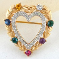 "Vintage TRIFARI ""Dearest"" Sweetheart Message Heart Pin Book Piece"