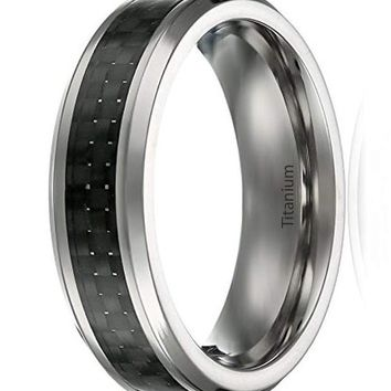 CERTIFIED 6MM Men's Titanium Ring Black Carbon Fiber Inlay | Beveled Edges