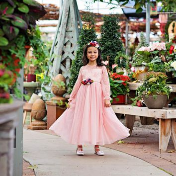 Pink Layla Ruffle Bell Sleeve Gown Dress & Floral Sash Set