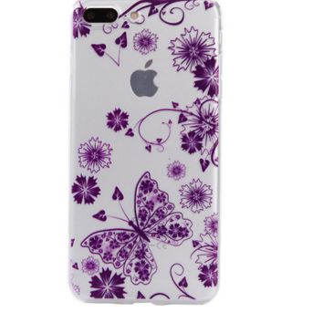 Purple flower butterfly Phone Case Cover for Apple iPhone 7 7 Plus 5S 5 SE 6 6S 6 Plus 6S Plus + Nice gift box! LJ161005-005