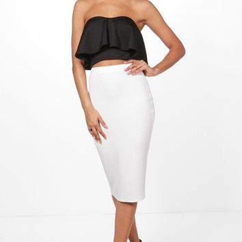 Amy Contrast Frill Bandeau & Midi Skirt Co-Ord Set | Boohoo