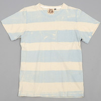 jungmaven - stripe hemp cotton blend pocket t shirt granite