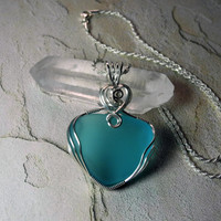 Turquoise Sea Glass Pendant Wire Wrapped in by MysticalMoonDesigns