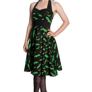 Rockabilly Gotham City Bat Attack Mini Bats Print Halter Party Dress