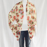 Floral Cocoon Cardigan/ Lightweight Knit Wrap/ Long Cocoon Jacket/ Batwing Sleeve Cardigan/ Oversized Kimono Shrug