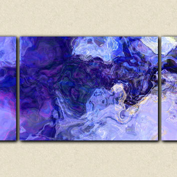 "Large contemporary abstract art stretched canvas print, 30x60 to 40x78 triptych in blue and purple, ""Midnight Blues"""