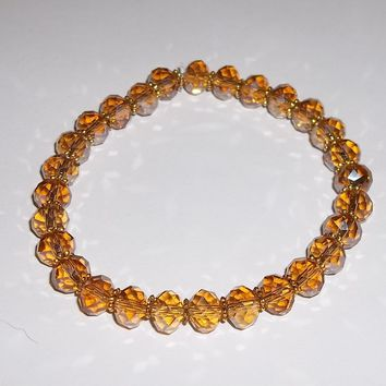 Yellow Topaz Swarovski Crystal w/ Brass Accent Spacer Beads Stretch Bracelet