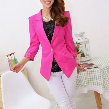 Rose Single Button Sheer Lace Back Patchwork Slim Lapel Blazer