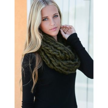 Ultra-Soft Olive Chunky Infinity Scarf