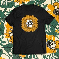 Hey Black Girl Sunflower Tee- Black