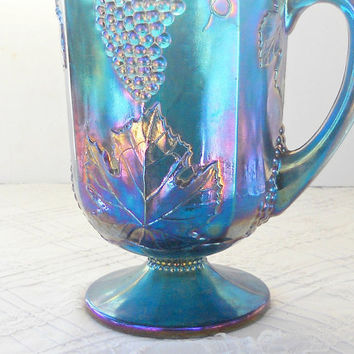 Vintage Harvest Grape Blue Carnival Glass Pitcher, Indiana Glass, Lemonade, Ice Tea, Tea Party, Weddings, Ca. 1970