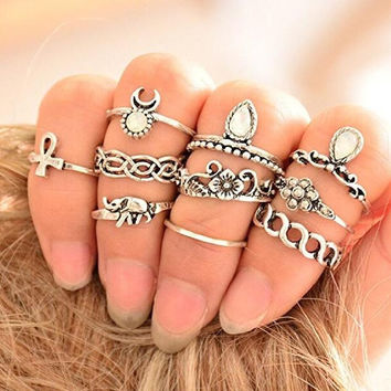 10 Pcs/set Vintage Rhinestone Knuckle Nail Crystal Elephant Moon Ring