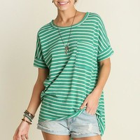 Green Basic Stripe Pocket Tee