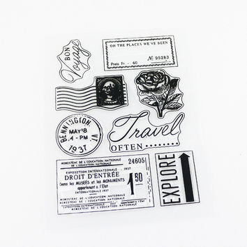 vintage travel memory clear stamp silicone stamp DIY rubber stamps for scrapbooking craft