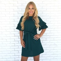 Rosita Bell Sleeve Shift Dress In Emerald Green