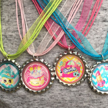 Shopkins Party Favors, Shopkins Necklace, Set of 4, Shopkins Jewelry, Kooky Cookie, Lipstick, Cake, Birthday Girl, Party Gifts