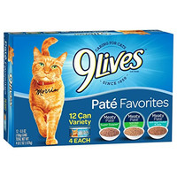9 Lives Pate Favorites Variety Pack Canned Cat Food, Pack of 12 Cans