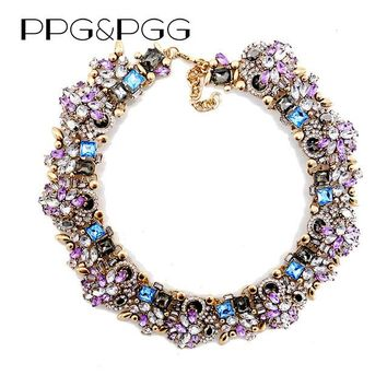 PPG&PGG Fashion Jewelry Women Luxury Rhinestone Collar Purple Crystal Bib Choker Statement Necklaces Pendants