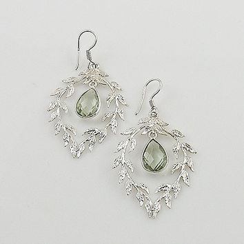 Praisiolite Vine Sterling Silver Earrings