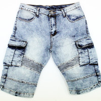 Moto Denim Short Pants
