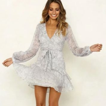 Fashion New Floral Print V-Neck Long Sleeve Dress Women Gray