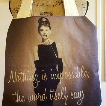 Audrey - Hepburn  - breakfast -at - Tiffany's  - 50's - 60's - pinup - rockabilly  - Retro - canvas - lined tote