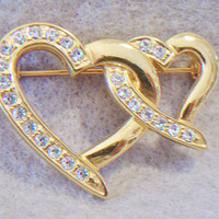Double Heart Rhinestone Brooch Pin Valentines Day Costume Jewelry Fashion Accessories For Her
