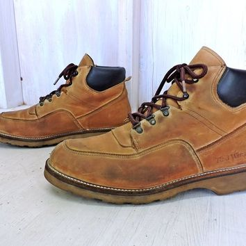 Vintage 70s Red Wing Boots Mens size  11.5 - 12 / moc toe steel toe / work hiking lace up boots
