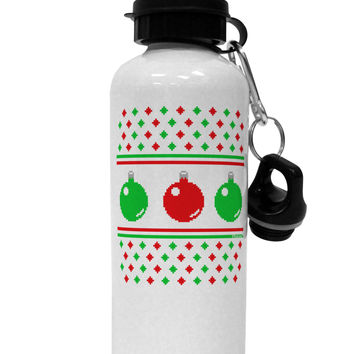 Ugly Christmas Sweater Ornaments Aluminum 600ml Water Bottle