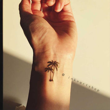 4pcs Gold Tiny Palm Tree metallic gold foil InknArt Temporary Tattoo - set wrist quote tattoo body sticker fake tattoo wedding tattoo small