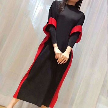 Fake Two Pieces Dress For Womenmiyak Pleated Loose Stand Collar Plus Size High Street Dress Tide D98